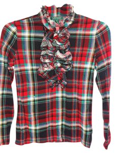 Lauren Ralph Lauren Button Down Tartan Longsleeve Top GREEN/RED