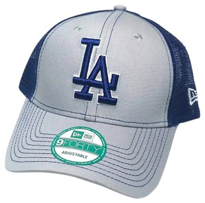 New Era Los Angeles Dodgers New Era Mesher Trucker Gray Blue Snapback Hat
