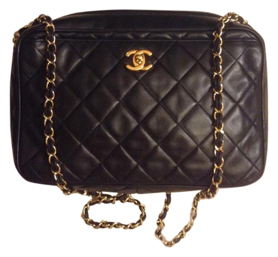 691eea37bf991f Chanel Camera Vintage Quilted Classic Jumbo Cc Logo Tag Turnlock Black  Lambskin Leather Cross Body Bag