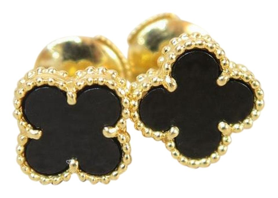 b1191faec418 Van Cleef   Arpels Van Cleef   Arpels 18K Yellow Gold Sweet Alhambra stud ONYX  Earrings ...