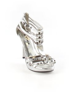 Dollhouse Ankle Strap Peep Toe Silver Platforms