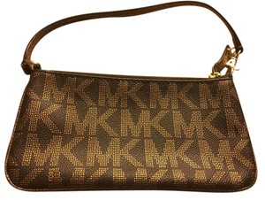 Michael Kors Brown And Gold Clutch