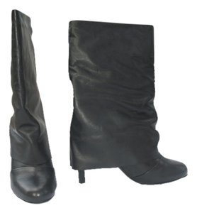 See by Chloe Leather Fold Over Black Boots