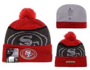 New Era San Francisco 49ers New Era Gold Collection Red Cuffed Beanie Pom Hat