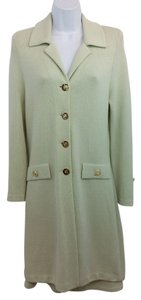 St. John St. John Collection Light Green Knit Long Jacket Skirt Suit 4 6