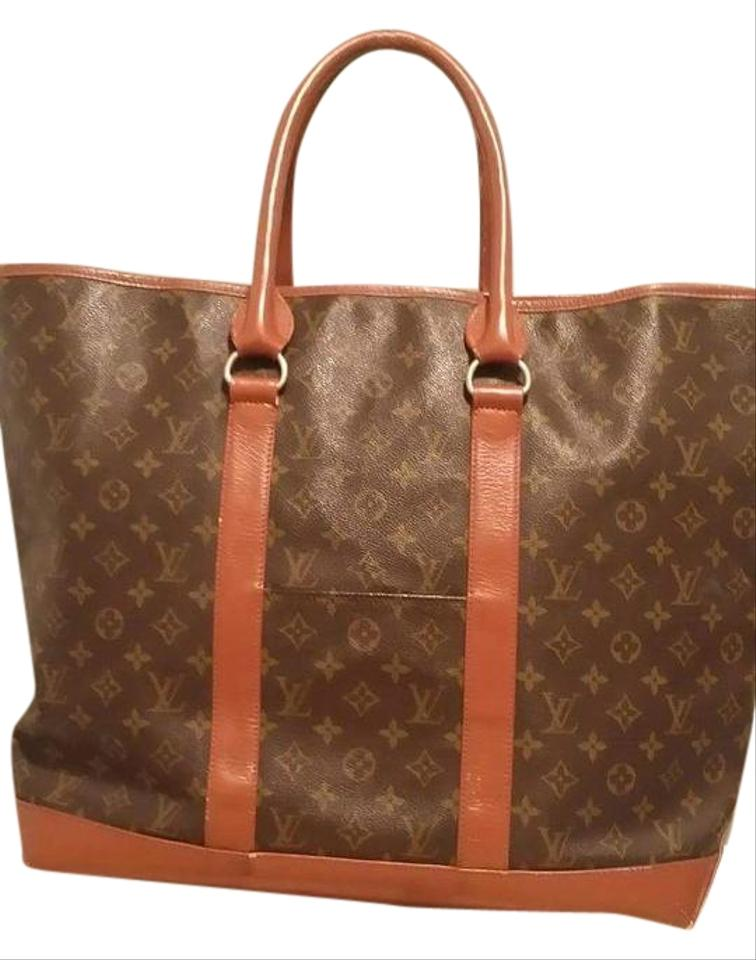louis vuitton vintage monogram sac weekend brown tote bag totes on sale. Black Bedroom Furniture Sets. Home Design Ideas
