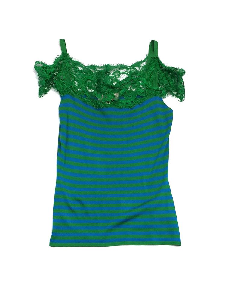 61210535f798aa Emilio Pucci Green   Blue Silk Off The Shoulder Blouse Size 4 (S ...