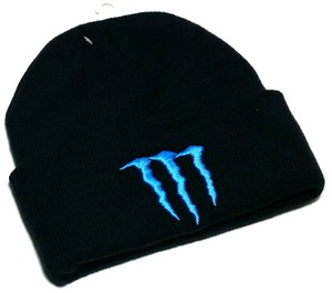 Solid Wing Solid Wing Black Blue M Beanie Toque Skully Ski Cuffed Knit Hat Cap