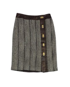 MILLY Brown Cream Tweed Leather Skirt