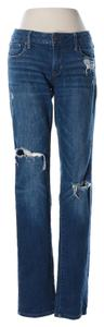 American Eagle Outfitters Leg Cut Low Rise Waist Distressed Designer Stretchy Skinny Jeans-Dark Rinse