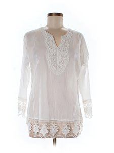Spiegel Crochet Cotton V-neck Tunic Summer Top white