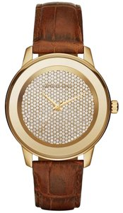 Michael Kors Michael Kors Mk2455 Kinley Brown Leather Glitz Gold Tone Watch