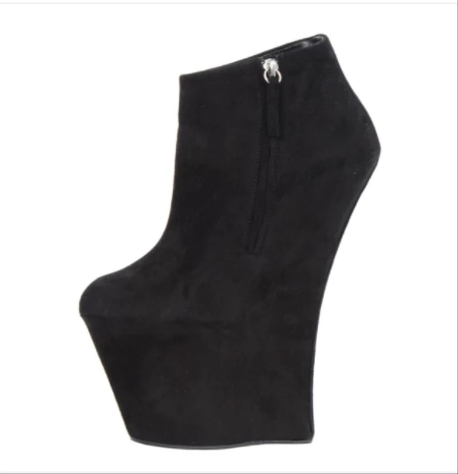 71a9bfc5d133 Giuseppe Zanotti Black Suede Sculpted Wedge Heel Boots Booties Size ...