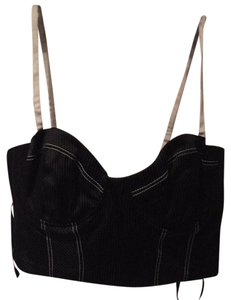 bebe Bustier Crop Date Top Black and white