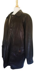 Saint Laurent Ysl Mens Dark Leather Us 40 Brown Leather Jacket