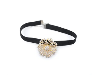 Gold Brooch and Diamond Black Choker Necklace