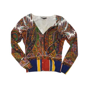 Etro Multi Color Paisley Print Cardigan