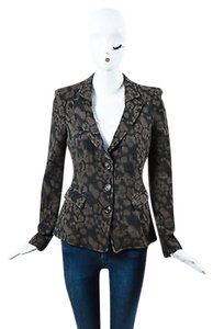 Armani Collezioni Armani Collezioni Brown Tan Leopard Print Knit Long Sleeve Blazer