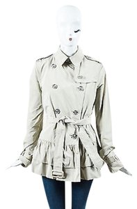 Burberry Khaki Short Peplum Trench Coat