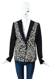 Giambattista Valli Giambattista Valli Black Cream Leopard Print Long Sleeve Blazer