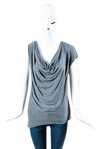Haute Hippie Draped Cowl Top Gray