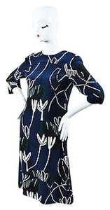 Marni Navy Green Black White Silk Printed Trapeze Dress