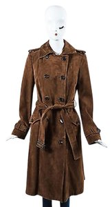 Tod's Light Suede Double Breasted Belted Long Trench Trench Coat