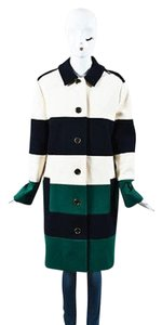 Lanvin Navy Cream Green Knit Coat
