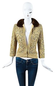 Valentino Gold Embroidered Fur Collar Button Sweater