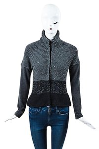 Brunello Cucinelli Charcoal Chunky Cashmere Sequin Ls Cardigan Sweater