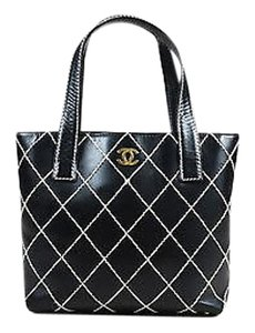 Chanel White Leather Gold Cc Double Wild Stitch Tote in Black