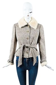 Valentino Brown Cream Tweed Brown,Cream,Gold,Metallic Jacket