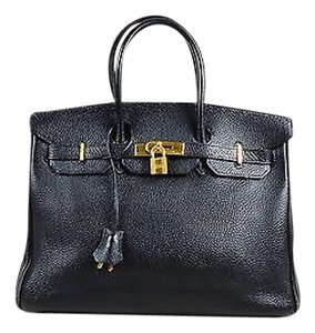 Hermès Togo Leather Gold Plated Hardware Birkin Cm Tote in Black