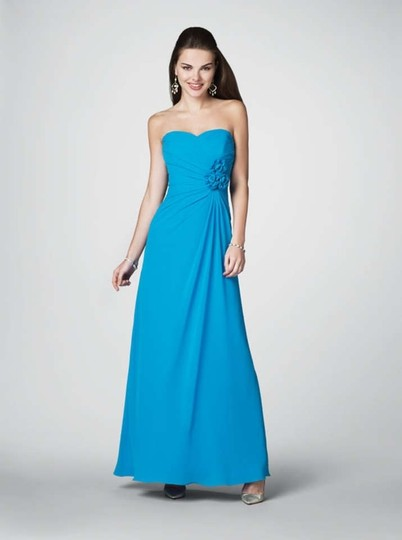 Alfred Angelo Mediterranean Blue Chiffon 7180 Formal Bridesmaid/Mob Dress Size 14 (L)