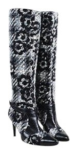 Chanel White Gray Tweed Leather Trim Pointy Toe Tall Heeled Black Boots