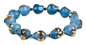 Shebee Blue Resin Swarovski Crystal Skull Stretch Bracelet