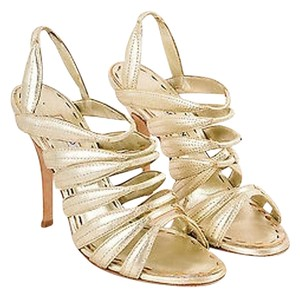 Manolo Blahnik Metallic Gold Sandals