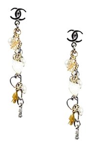 Chanel Chanel 08p Silver Gold Tone Faux Pearl Clover Heart Charm Cc Dangle Earrings