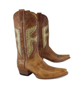 Frye Brown Studded Leather Cowgirl Boots
