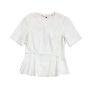 Rebecca Taylor White Cotton Short Sleeve Flared Top