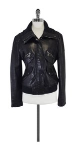 DKNY Black Leather Bomber Jacket
