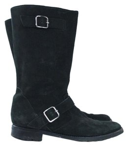 Manolo Blahnik Black Leather Buckle Mid-calf Boots