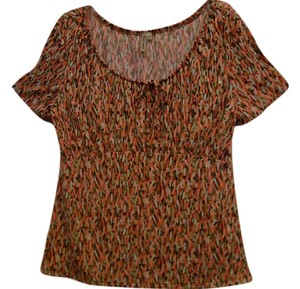 Susan Lawrence Top Multi Peach Green Brown Tones