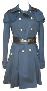 bebe Military Gold-tone Buttons Double-breasted Pleated Trench Coat