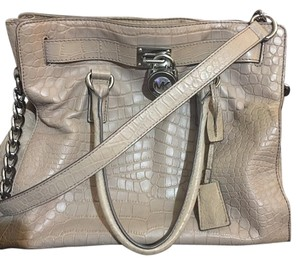 Michael Kors Croc Embossed Leather Tote in Taupe
