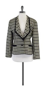 Louis Feraud Black & White Plaid Velvet Trim Blazer