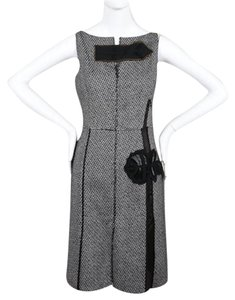 Prada Floral Embroidered Tweed Embellished Wool Dress