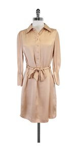 Halston short dress Blush Silk Belted on Tradesy