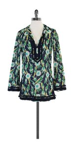 Tory Burch Navy & Green Floral Print Cotton Tunic