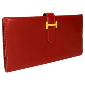 Hermès Hermes Bearn Classic Box Calf Rouge Bifold Long Wallet